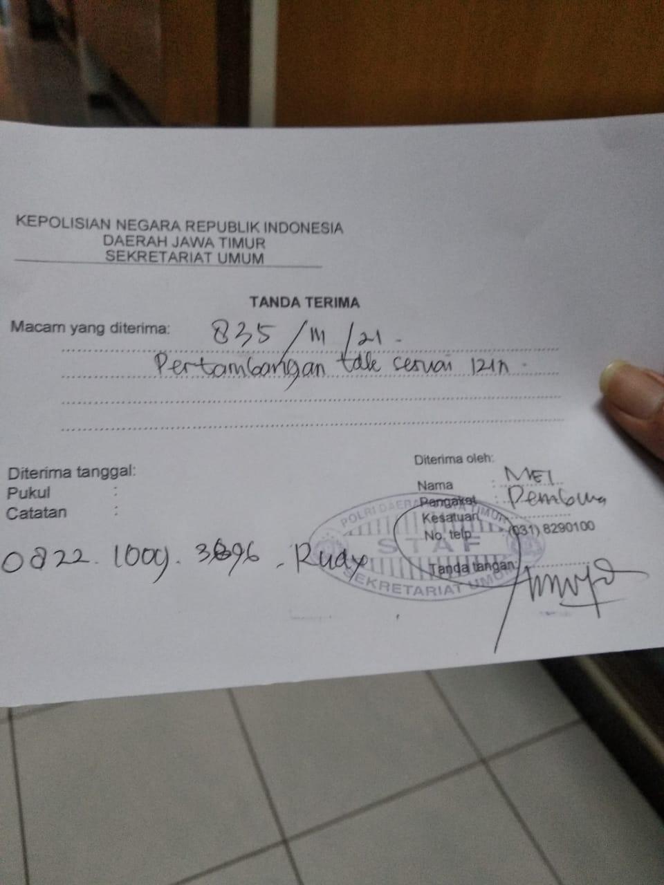 Surat keterangan PSPLM Laporan Galian C